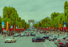 Beautiful view of Champs Elysees and Arc de Triomphe Royalty Free Stock Image