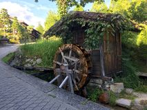Beautiful wooden Watermill captured on the Nakasendo Road, Japan royalty free stock photos