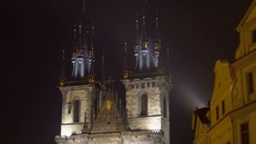 Beautiful view on the Church of Our Lady before Tyn in center of Prague, evening. Stock footage stock footage