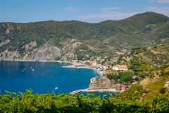 View of Monterosso al Mare from the Cinque Terre Trail. stock photography