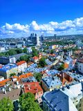 Beautiful view of the city from above and blue sky with clouds royalty free stock photography