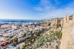 View of the city of Almeria Spain from the Alcazaba stock photography