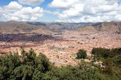 View of Cusco - Peru South America. Beautiful view of city Cusco - view of the roofs of Cusco - Peru South America royalty free stock image