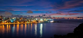 Beautiful view of the city of Havana and its bay. At dusk in Cuba Royalty Free Stock Photography