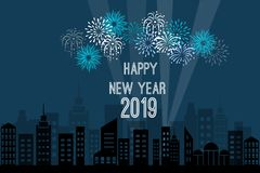 Beautiful view of the city at night with fireworks on a blue background. For the New Year and Christmas holiday in winter in December 2019 royalty free illustration