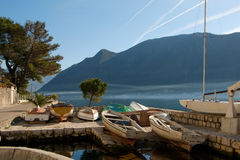 Beautiful view on city of Perast at Kotor bay Stock Photos