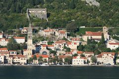 Beautiful view of the city of Perast, Montenegro Royalty Free Stock Image