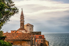 Beautiful view of the city of Piran, Slovenia on a Sunny day with beautiful cloud on the sky. Stock Images