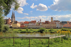 Beautiful view of the city of Regensburg. The picture was taken in Germany. The picture shows a beautiful view of the Danube coast in the ancient city of Royalty Free Stock Image
