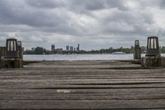 View city of rotterdam the netherlands from a pier stock images