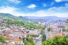 Beautiful view of the city of Sarajevo, Bosnia and Herzegovina Royalty Free Stock Image