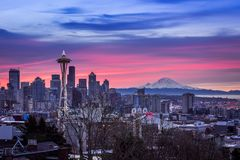 Beautiful view of the city of Seattle, USA underneath the breathtaking colorful sky