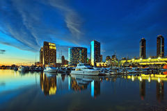 Beautiful view of city skyline with harbor at sunset, San Diego, California, USA Stock Photo
