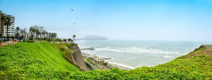 Coast line in Miraflores distric in Lima, Peru. royalty free stock images