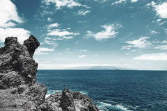 Beautiful view from the cliff of mountain to the ocean Royalty Free Stock Photo