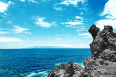 Beautiful view from the cliff of mountain to the ocean Royalty Free Stock Images