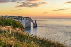 Beautiful view of cliffs Aval of Etretat and beautiful famous coastline ,Normandy, France, Europe stock photo