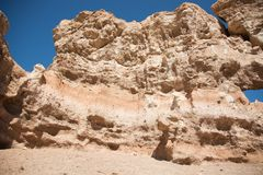 Charyn grand canyon in Kazakhstan. Beautiful view of cliffs from yellow red limestone Royalty Free Stock Image