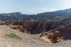 Charyn grand canyon in Kazakhstan. Beautiful view of cliffs from yellow red limestone Royalty Free Stock Images