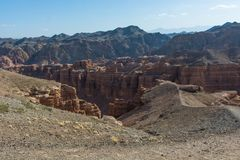 Charyn grand canyon in Kazakhstan. Beautiful view of cliffs from yellow red limestone Royalty Free Stock Photos