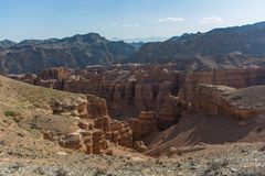 Charyn grand canyon in Kazakhstan. Beautiful view of cliffs from yellow red limestone Stock Photos