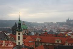 View from clock tower in Old Town, Prague, Czech Republic royalty free stock image