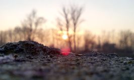 Beautiful view with close focus. Focus on the rock give awesome view on the sunset Stock Photos