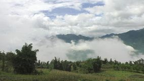 Beautiful view of clouds in highlands of Vietnam, Asia. Beautiful view of clouds in highlands of Sapa in Vietnam, Asia stock video footage