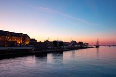 Coast in Copenhagen at night stock photo