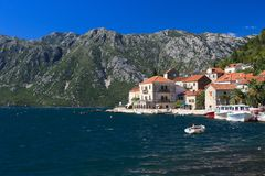 Beautiful view of the coastal town of Perast, Montenegro Royalty Free Stock Photo
