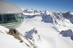 Tyrol winter landscape. Beautiful view of coffee, bar, restaurant and winter landscape from 3440m altitude from pitztal gletscher in tyrol, austria stock photos