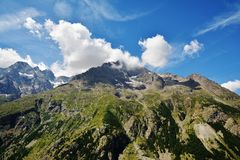 Beautiful view from Col du Lautaret, France. Beautiful view from Col du  Lautaret, high mountain pass in the department of Hautes-Alpes ,communication route Royalty Free Stock Photos