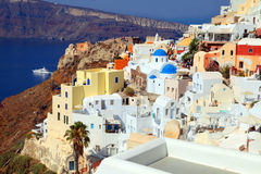 Beautiful view with colorful houses in village of Oia, Santorin royalty free stock photography