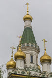 Beautiful view of colorful Russian St. Nicholas church in the ce Royalty Free Stock Images