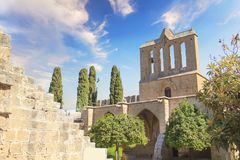 Beautiful view of the construction of the Bellapais Abbey in Kyrenia Girne, Republic of Northern Cyprus. On a sunny day Stock Photos