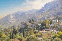 Beautiful view of the construction of the Bellapais Abbey in Kyrenia Girne, Republic of Northern Cyprus. On a sunny day Royalty Free Stock Photos