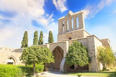Beautiful view of the construction of the Bellapais Abbey in Kyrenia Girne, Republic of Northern Cyprus. On a sunny day Stock Images