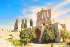 Beautiful view of the construction of the Bellapais Abbey in Kyrenia Girne, Republic of Northern Cyprus. On a sunny day Stock Photo