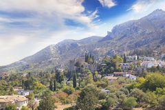 Beautiful view of the construction of the Bellapais Abbey in Kyrenia Girne, Republic of Northern Cyprus. On a sunny day Royalty Free Stock Image