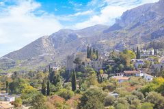 Beautiful view of the construction of the Bellapais Abbey in Kyrenia Girne, Republic of Northern Cyprus. On a sunny day Royalty Free Stock Photo