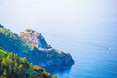 Beautiful view of Corniglia from above. One of five famous colorful villages of Cinque Terre National Park in Italy Royalty Free Stock Photos