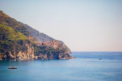 Stunning view of the beautiful and cozy village of Corniglia in the Cinque Terre Reserve Stock Images