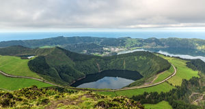 Beautiful View of the Crater of the Volcano is Covered by Forest Royalty Free Stock Images