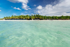 Beautiful view of Cuban Cayo Coco palm beach and tranquil, turquoise ocean on sunny gorgeous day Stock Images