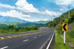 Beautiful view curve road be high and steep, royalty free stock photography