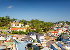 Beautiful view of Da Lat city (Dalat) on the blue sky background Stock Image