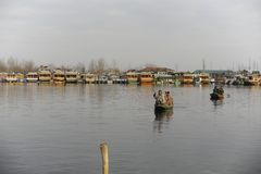 A beautiful view at the Dal Lake Kashmir, India during winter Stock Photography