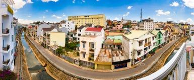 Beautiful view of Dalat, Vietnam. Panorama. Beautiful street view of Dalat, Vietnam. Panorama royalty free stock photo