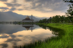 Beautiful view of Darul Quran Mosque with reflections during sunrise Royalty Free Stock Image