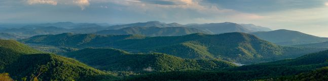 Blue ridge mountains panorama on a clear summer day stock photos